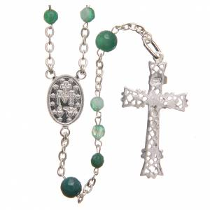 Silver rosaries: Rosary beads in Brazilian agate and sterling silver, 4mm green