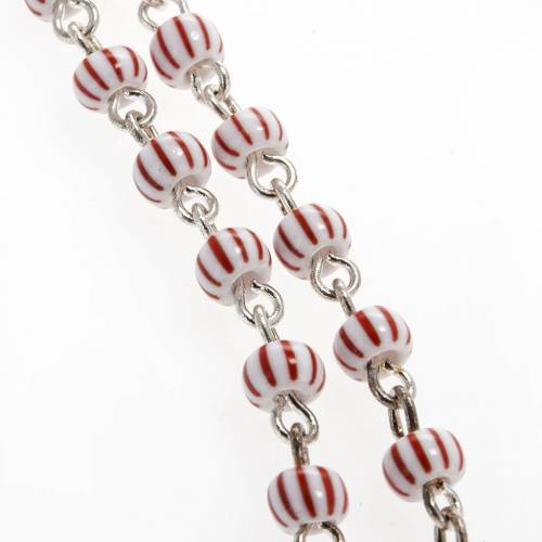 Rosary beads in red & white glass 4 mm s2
