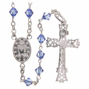Silver rosaries: Rosary beads in Swarovski and sterling silver 6mm aquamarine
