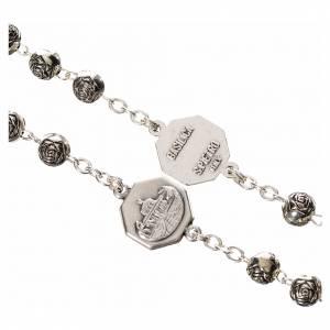Rosary beads, John Paul II with metal roses s3