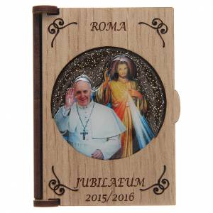 Rosary cases: Rosary case in laser cut wood, Divine Mercy Pope Francis