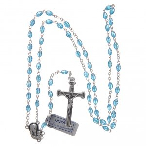 Rosary in aqua green crystal with cross and center piece in oxidised metal s4