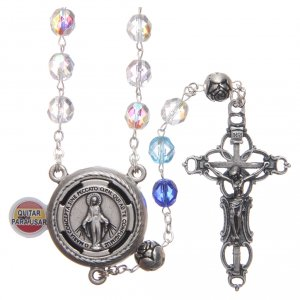 Rosary in crystal with blue shades and talking center piece in SPANISH 8 mm s1