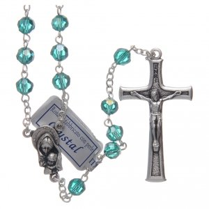 Rosary in emerald crystal and oxidised metal s1