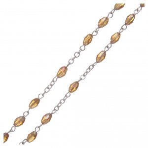 Rosary in gold crystal with cross and center piece in oxidised metal s3