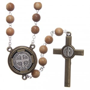 Rosary in light brown wood with Pope Francis talking prayer ITALIAN 8 mm s2