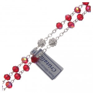 Rosary in metal with ruby crystal grains s3