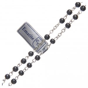 Rosary in real hematite black with silver cross s3