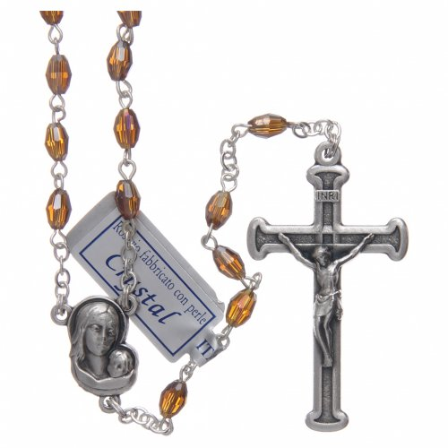 Rosary in smoky grey crystal with cross and center piece in oxidised metal s1