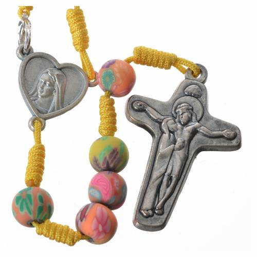 Rosary in yellow fimo, 6mm with Medjugorje soil s1