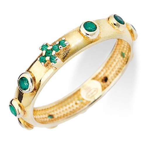 Rosary Ring AMEN gilded silver 925, green zircons s1