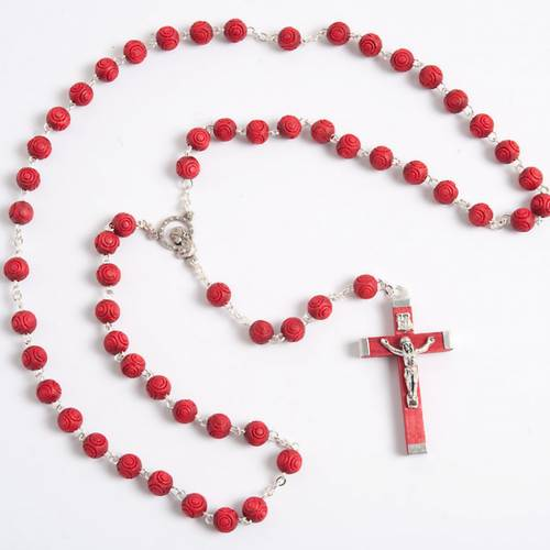 Rose-scented inlayed rosary 1