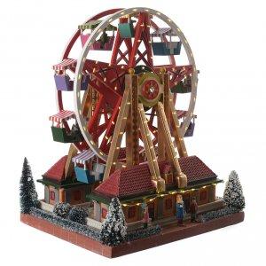Villages de Noël miniatures: Roue panoramique village hivernal musical 30x25x30 cm