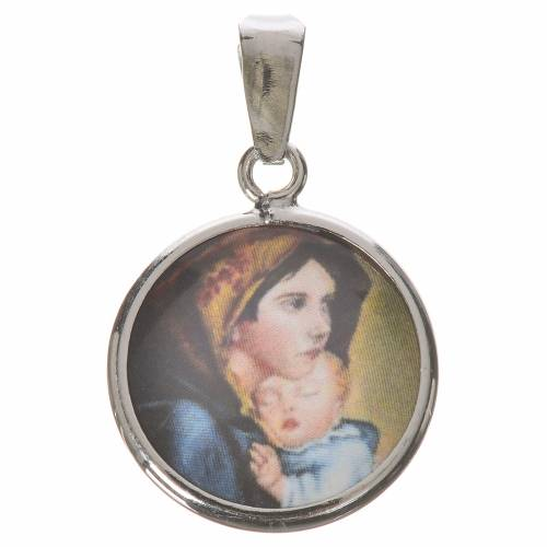 Round medal in silver, 18mm Our Lady by Ferruzzi s1