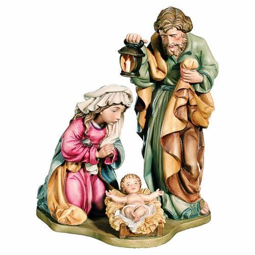 Sacra Famiglia colori reali legno acero dipinto s1
