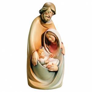 Statue in legno dipinto: Sacra Famiglia colori tenui in legno di acero