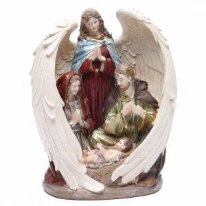 Sacra Famiglia con Angelo 31 cm resina fin. Natural s1