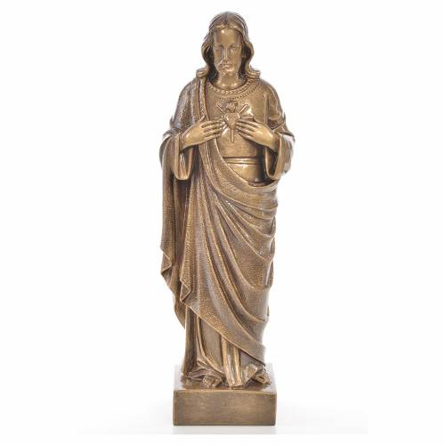 Sacré coeur de Jésus 50 cm poudre de marbre couleur bronze s1
