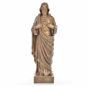 Statue in polvere di marmo di Carrara: Sacro Cuore Gesù 50 cm marmo finitura bronzata