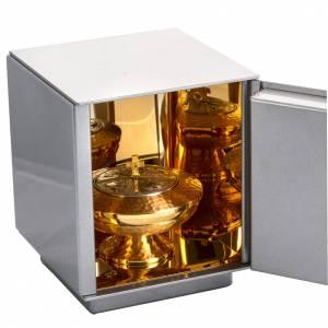 Sagrario de mesa Última Cena Bronce, caja plateada hierro s4