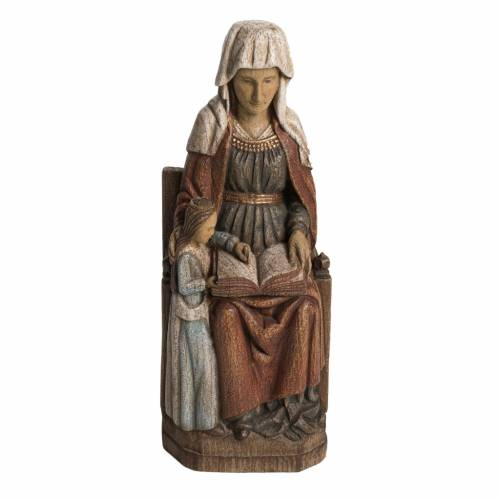 Saint Anne, young Virgin Mary statue in painted Bethléem wood, s1