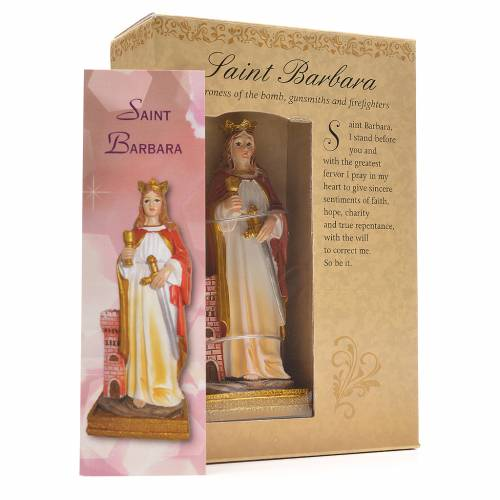 Saint Barbara, 12cm with English prayer s3