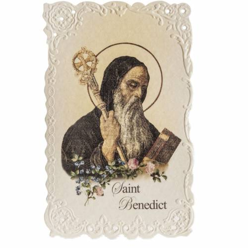Saint Benedict holy card with prayer in ENGLISH s1