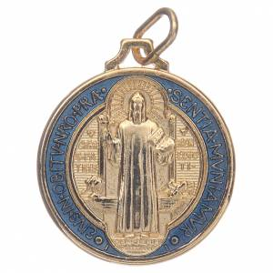 Saint Benedict medal in gold plated zamak and enamel s1