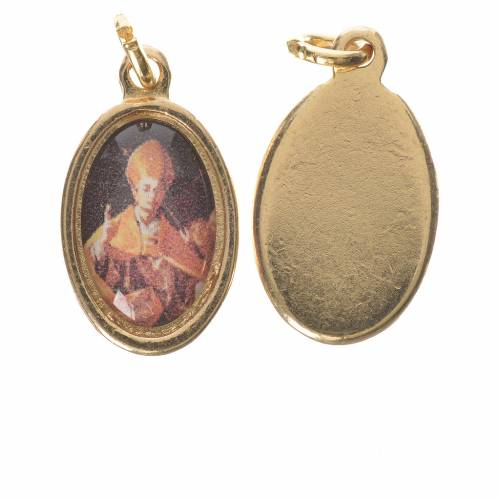 Saint Charles Borromeo medal in golden metal, 1.5cm s1