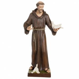 Reconstituted marble religious statues: Saint Francis with doves statue, 80cm in painted reconstituted m