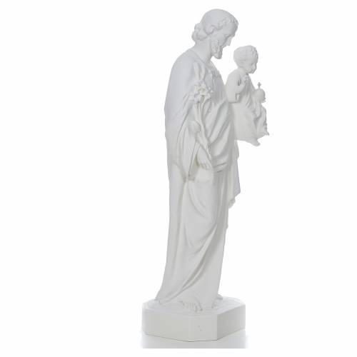 Saint Joseph à l'enfant fibre de verre blanche 130cm s4