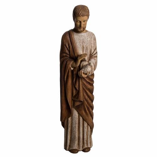 Saint Joseph with dove statue in wood, 60 cm s1