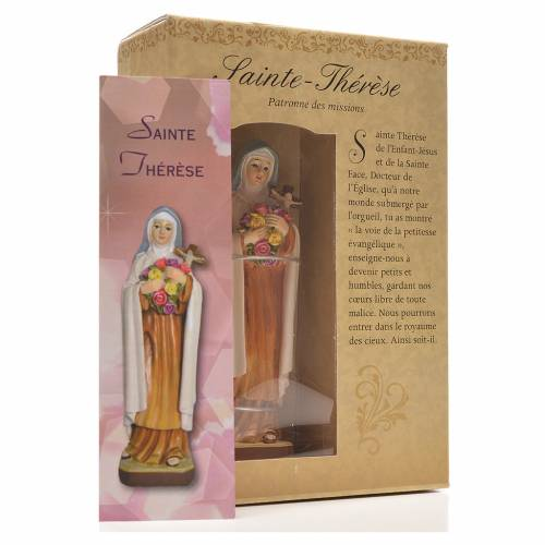 Saint Thérèse 12cm with image and FRENCH PRAYER s3