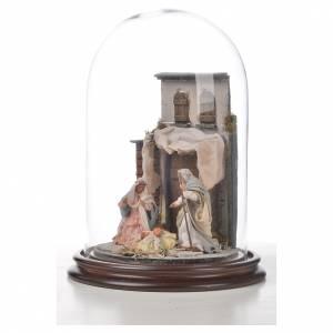 Sainte Famille terre cuite style arable 20x30cm cloche verre s5