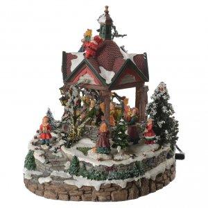 Villages de Noël miniatures: Salle de bal du village avec musique diamètre 25 cm