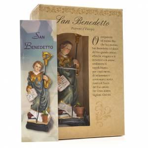 San Benedetto 12 cm con immaginetta PREGHIERA ITALIANO s3