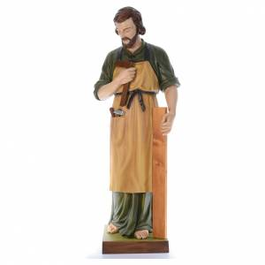Statue in Vetroresina: San Giuseppe falegname 150 cm vetroresina colorata