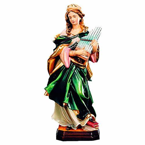 Santa Cecilia in legno colorato con strumento musicale s1