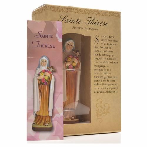 Santa Teresina 12 cm con immaginetta PREGHIERA FRANCESE s3