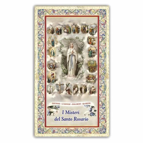 Santino Madonna del Rosario con le miniature dei 20 Misteri 10x5 ITA s1