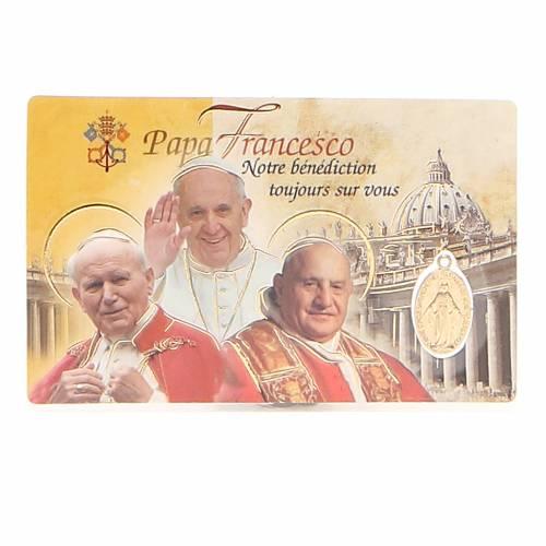 Santino plastificato 3 Papi e Med. Miracolosa FRANCESE s1