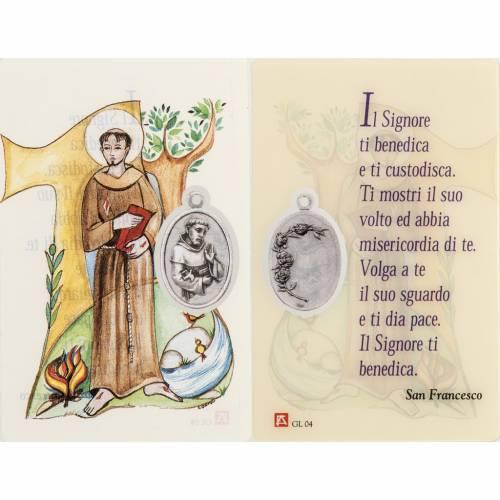 Santino San Francesco plastificato con preghiera s1