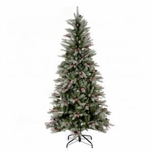 Sapins de Noël: Sapin de Noël 240 cm Slim avec neige baies pommes pin Dunhill