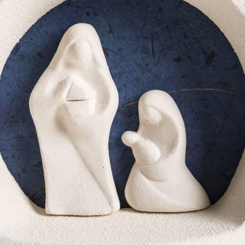 Sapin Noel à accrocher Nativité bleue argile s2