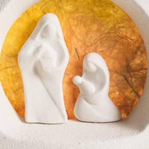Sapin Noel sur base Nativité orange argile s2
