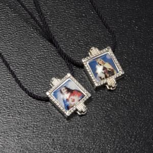 Scapolari: Scapolare metallo argentato con medaglie