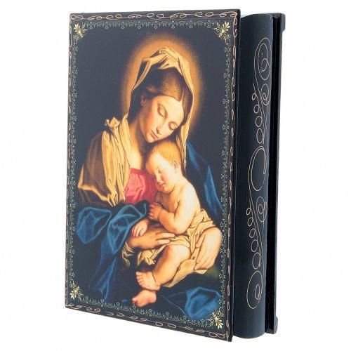 Scatola cartapesta decoupage russa Madonna col Bambino 22X16 cm s2