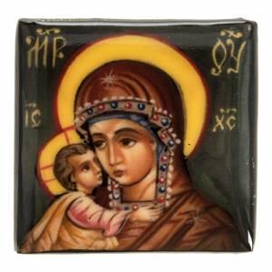 Scatola lacca Russia Madre di Dio con bimbo Fedoskino s2