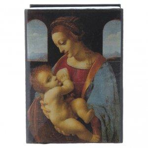 Scatola laccata russa La Madonna Litta 7X5 cm s1
