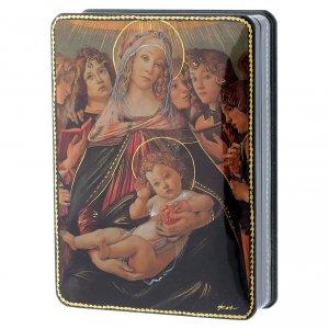 Scatola russa Papier-mâché Nascita Gesù Cristo Fedoskino style 15x11 s2
